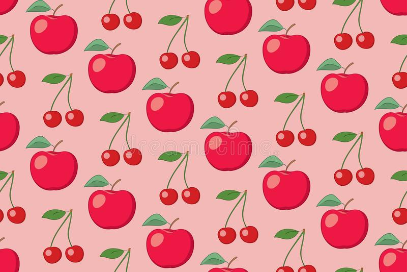 Modèle sans couture de fruit attrayant de vecteur avec des pommes et des cerises illustration stock