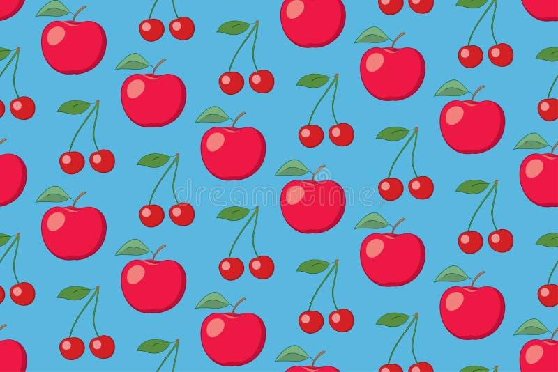 Modèle sans couture de fruit bleu-clair de vecteur avec des pommes et des cerises illustration de vecteur