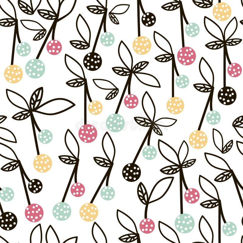Modèle sans couture de fruit moderne Fond avec la cerise Grand pour le tissu d'enfants, le textile, etc. Illustration de vecteur illustration stock
