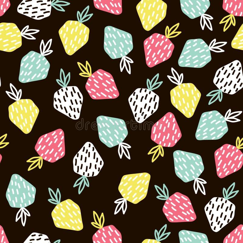 Modèle sans couture de fruit moderne Fond avec la fraise Grand pour le tissu d'enfants, le textile, etc. Illustration de vecteur illustration stock