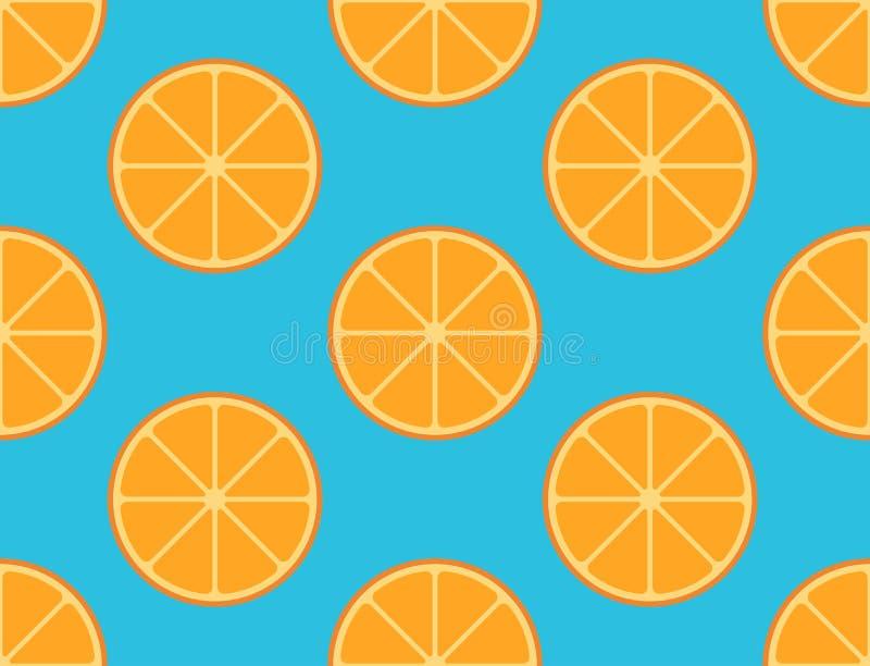Modèle sans couture de fruit orange coupé en tranches sur le fond bleu illustration de vecteur