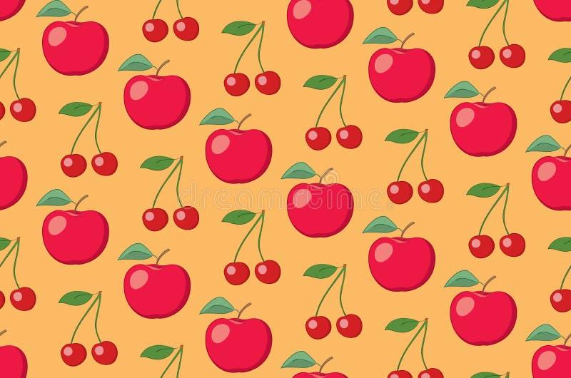 Modèle sans couture de fruit orange de vecteur avec des pommes et des cerises illustration de vecteur
