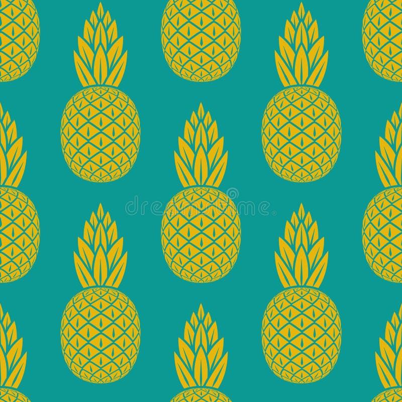 Modèle sans couture de fruit tropical d'ananas illustration libre de droits