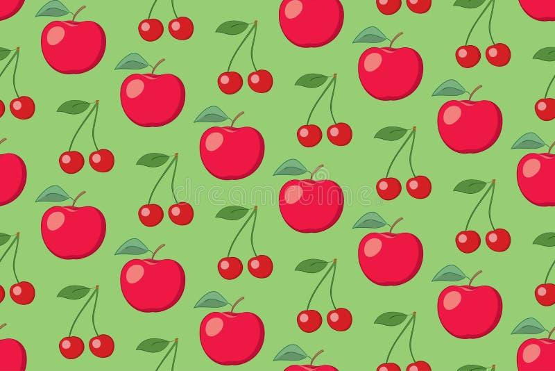 Modèle sans couture de fruit vert de vecteur avec des pommes et des cerises illustration de vecteur