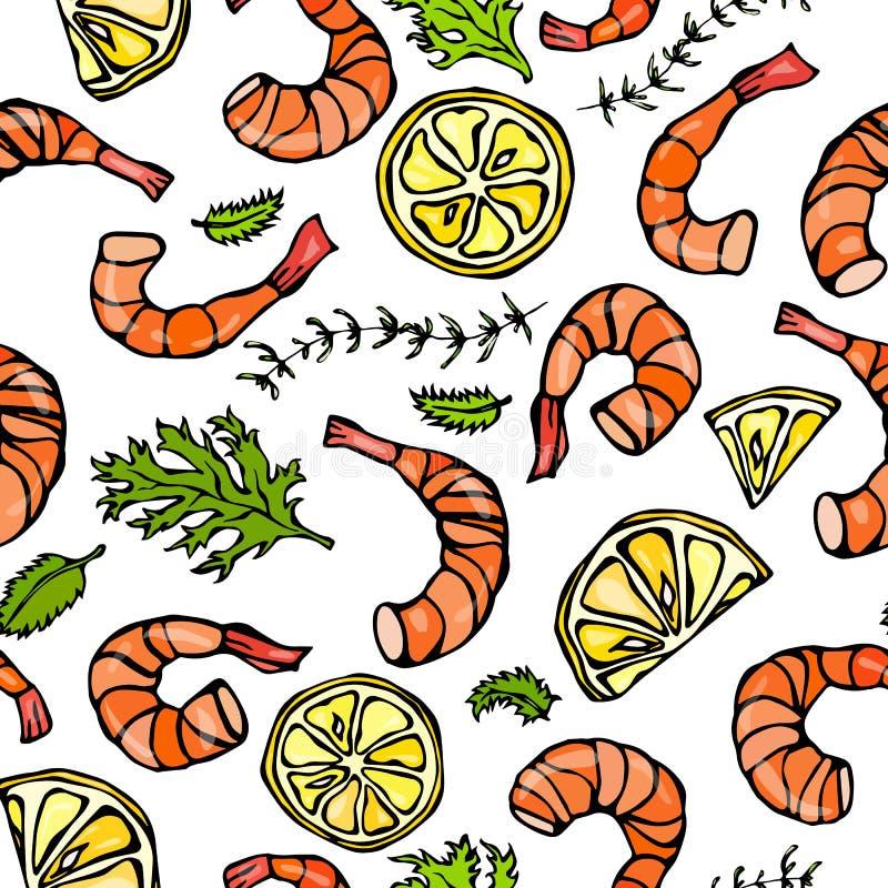 Modèle sans couture de fruits de mer Crevette ou crevette rose, herbes et citron D'isolement sur une main blanche de vintage de b illustration stock
