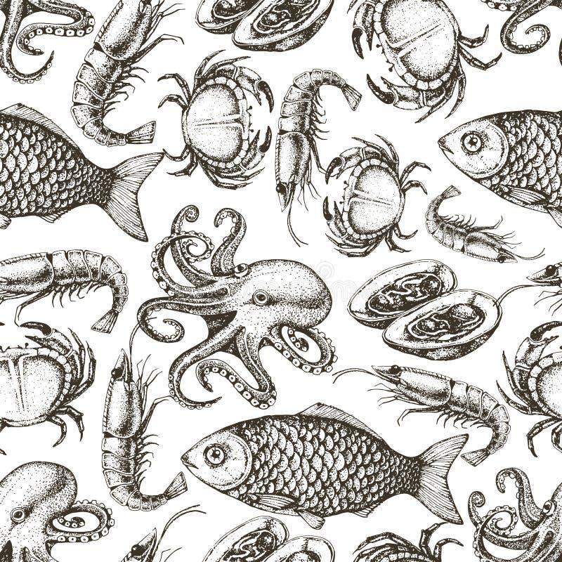 Modèle sans couture de fruits de mer tirés par la main de croquis illustration de vecteur
