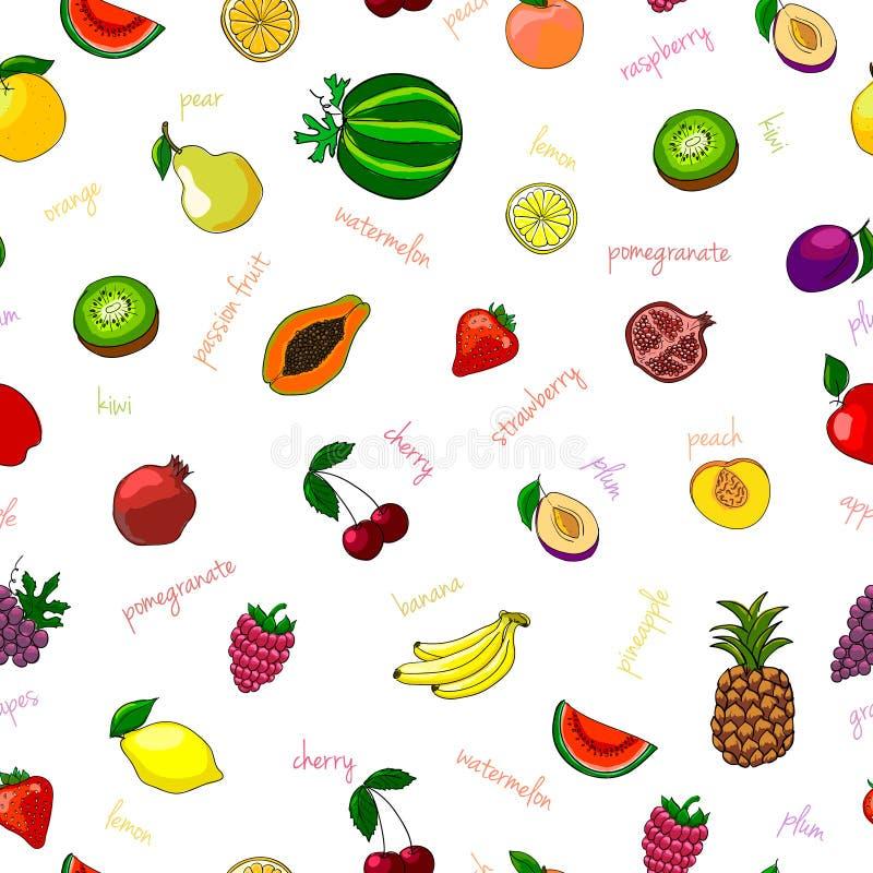 Modèle sans couture de fruits frais illustration de vecteur