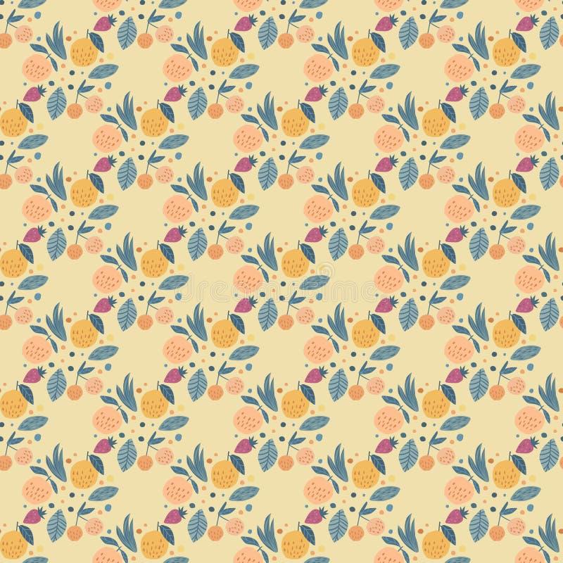 Modèle sans couture de fruits géométriques Fond drôle de fruit de jardin illustration de vecteur