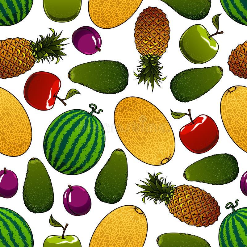 Modèle sans couture de fruits juteux mûrs illustration de vecteur