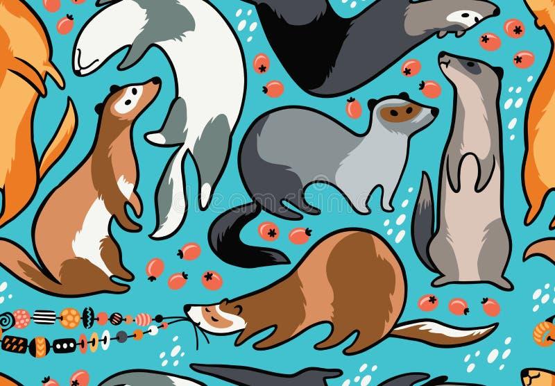 Modèle sans couture de furets mignons de bande dessinée Illustration de vecteur illustration libre de droits