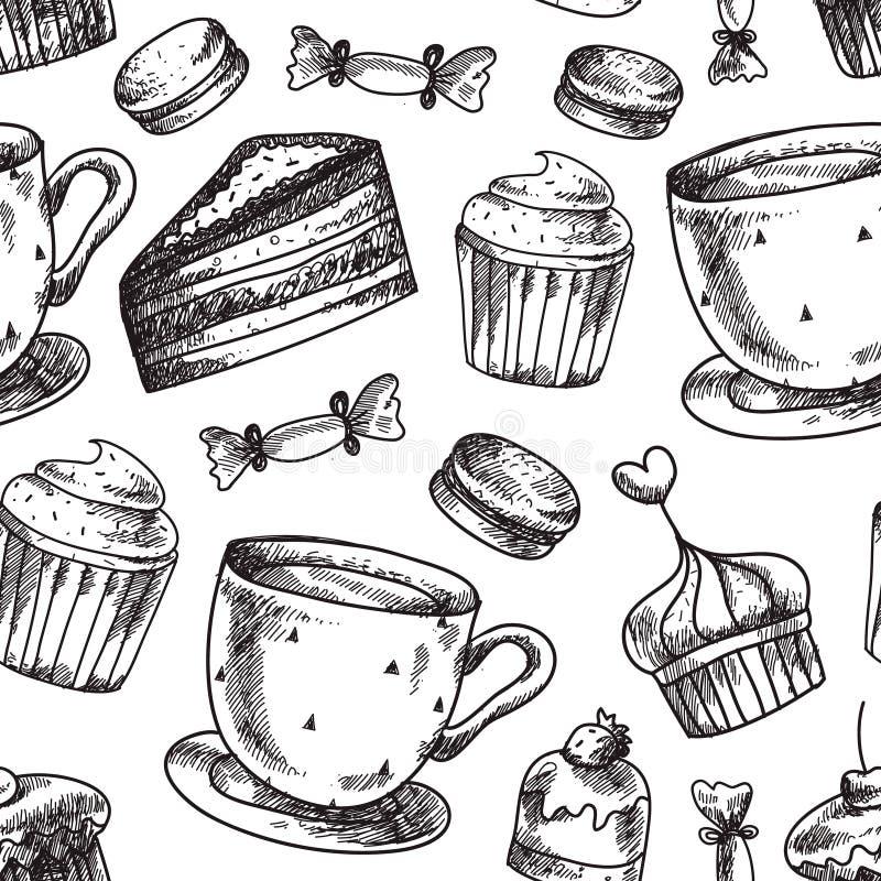 Modèle sans couture de gâteau de vecteur Boulangerie, gâteaux, dessert, fond de pâtisseries Icônes de nourriture de cru de griffo illustration libre de droits