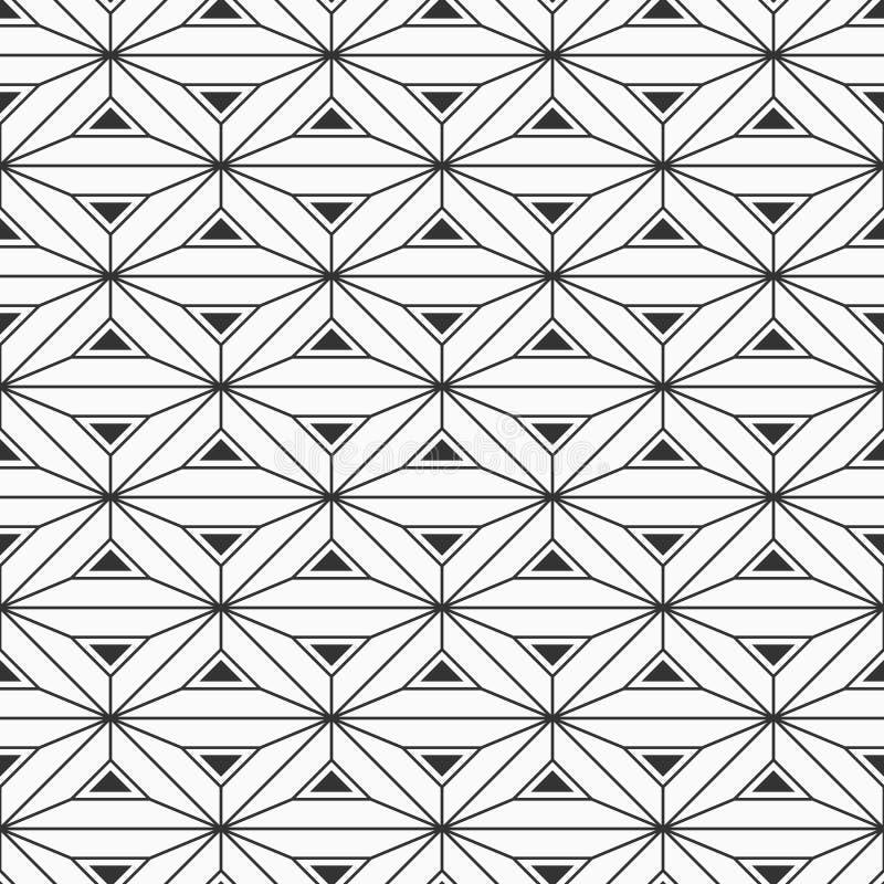 Modèle sans couture de modèle géométrique abstrait Fond de verrouillage de triangles Fond de monochrome de vecteur illustration de vecteur