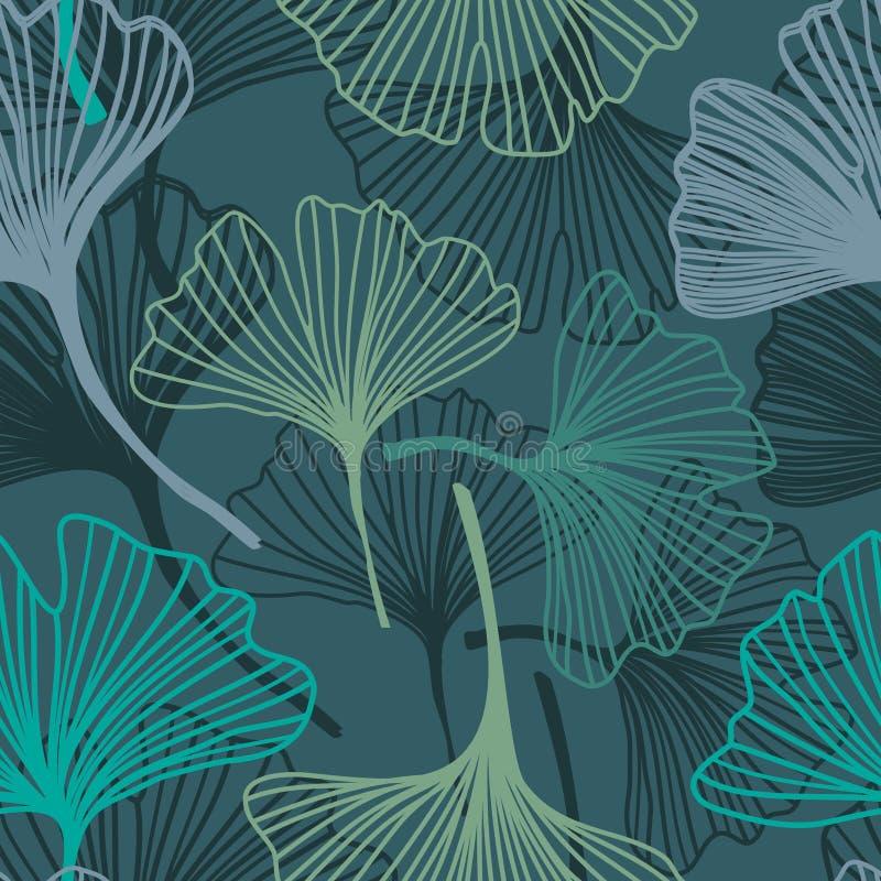 Modèle sans couture de Ginkgo dans des couleurs douces illustration de vecteur