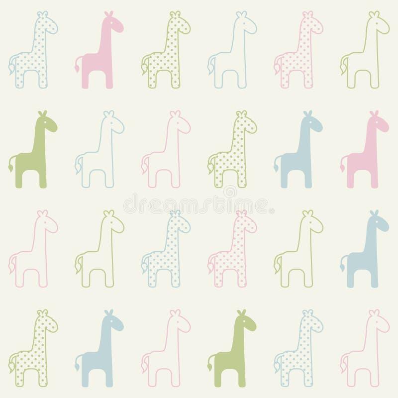 Modèle sans couture de girafe de bande dessinée illustration de vecteur