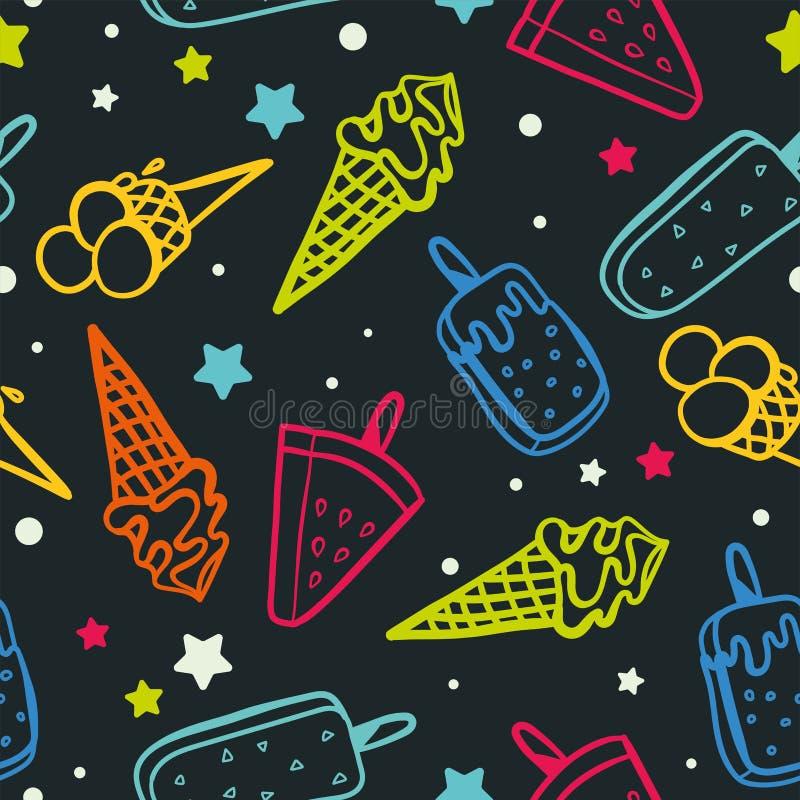 Modèle sans couture de glace avec les couleurs au néon - texture de fond, grandes sans couture pour les tissus orientés d'été, pa illustration stock