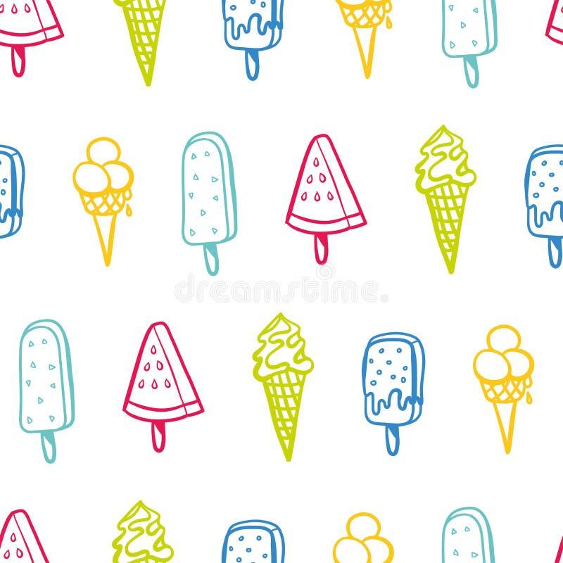 Modèle sans couture de glace avec les couleurs au néon - texture de fond, grandes sans couture pour les tissus orientés d'été, pa illustration de vecteur