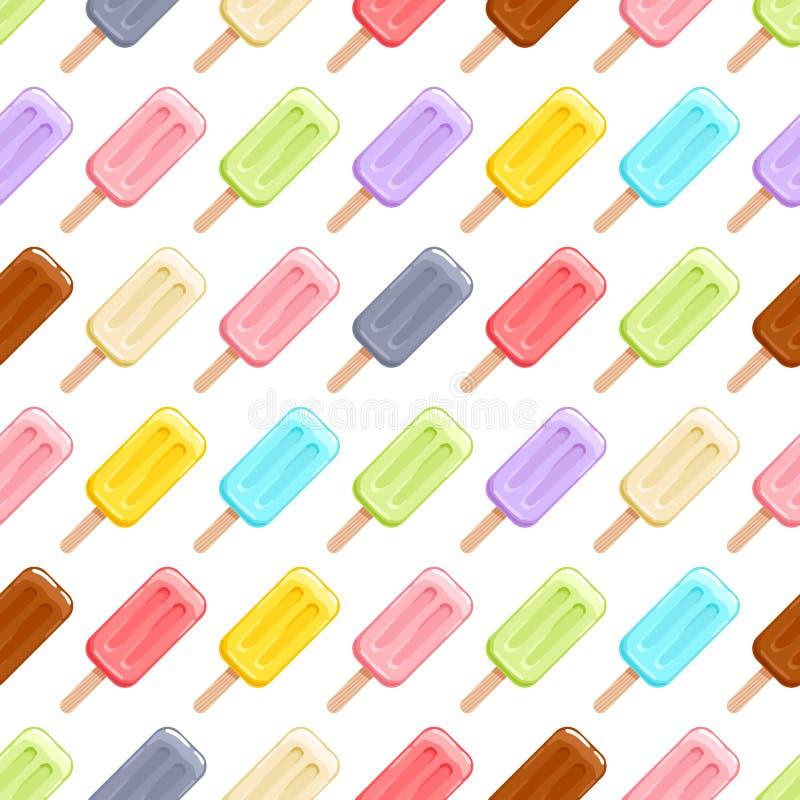 Modèle sans couture de glaces à l'eau colorées de crème glacée illustration stock