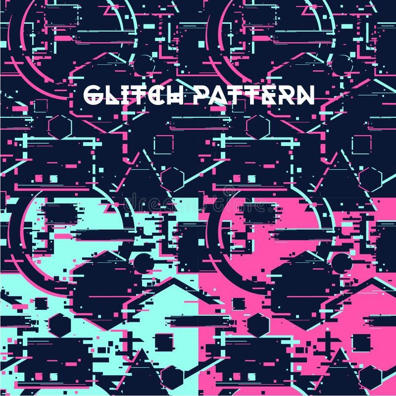 Modèle sans couture de Glitchy Texture abstraite avec l'effet de problème Surface avec l'effet de destortion Cyberpunk géométriqu illustration de vecteur