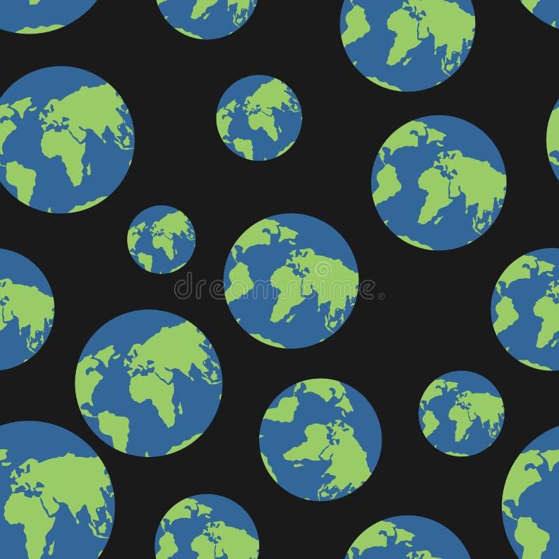 Modèle sans couture de globe Globes de fond de la terre Planètes o b illustration stock