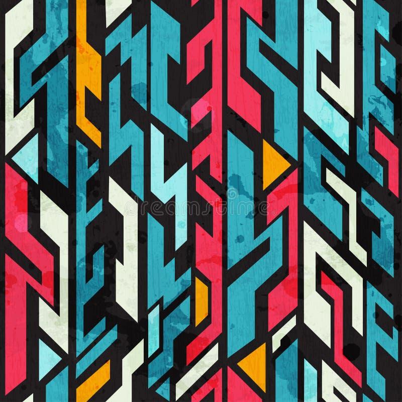 Modèle sans couture de graffiti abstrait avec l'effet grunge illustration de vecteur
