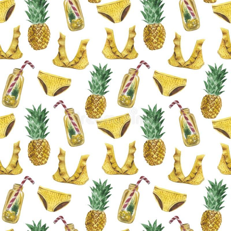 Modèle sans couture de grande aquarelle d'un maillot de bain, pots de limonade, ananas illustration libre de droits