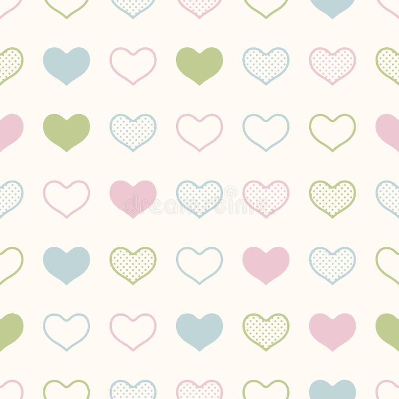Modèle sans couture de graphique de coeur de points illustration stock