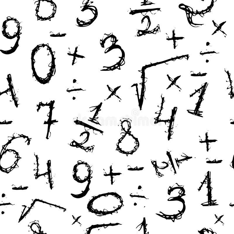 Modèle sans couture de griffonnage avec des nombres Noir et blanc tiré par la main illustration de vecteur