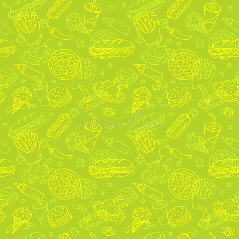 Modèle sans couture de griffonnage d'aliments de préparation rapide illustration stock