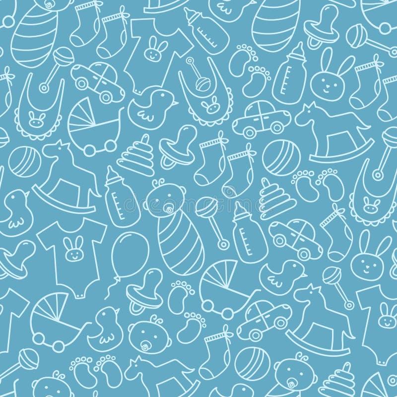 Modèle sans couture de griffonnage de fête de naissance Fond pour une carte d'invitation ou une félicitation illustration libre de droits