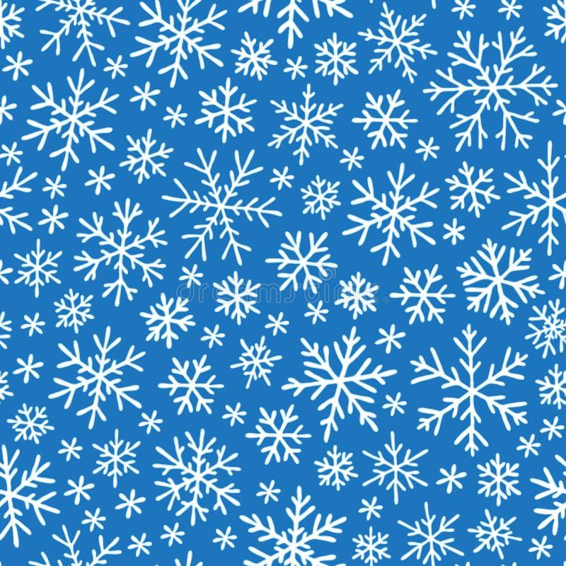 Modèle sans couture de griffonnage de Noël avec des flocons de neige illustration stock