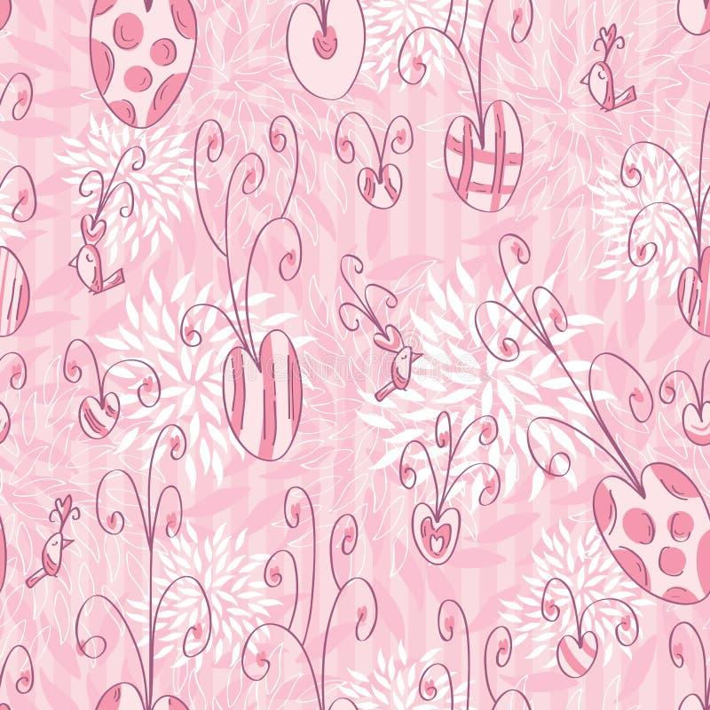 Modèle sans couture de griffonnage rose d'amour illustration de vecteur