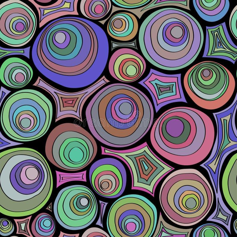Modèle sans couture de griffonnage tiré par la main avec l'ornement de cercles Palette de couleurs folle Cercles concentriques ps illustration stock