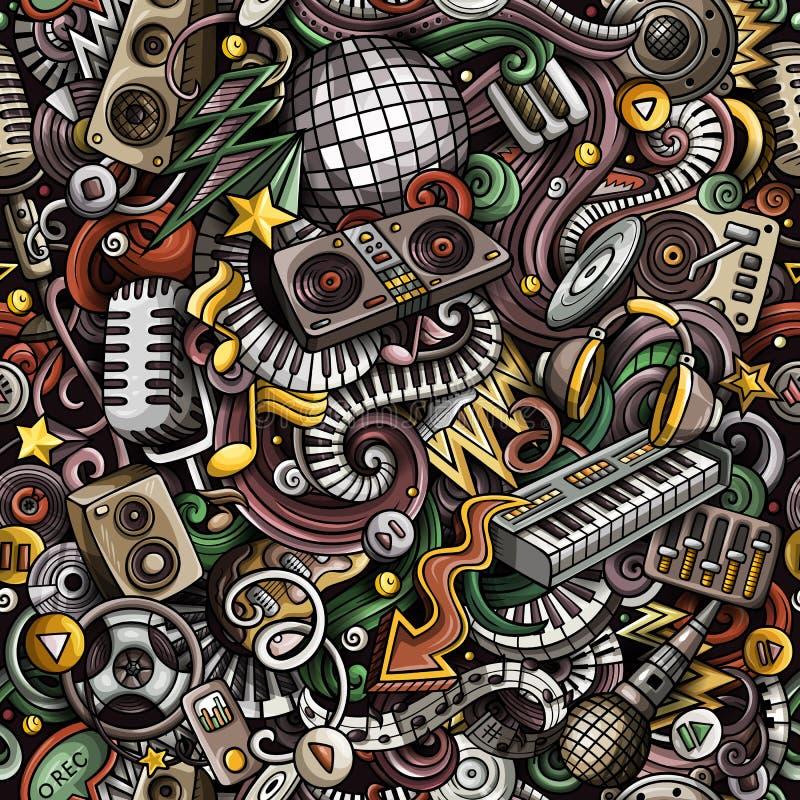 Modèle sans couture de griffonnages de bande dessinée de musique mignonne de disco Deta coloré illustration de vecteur