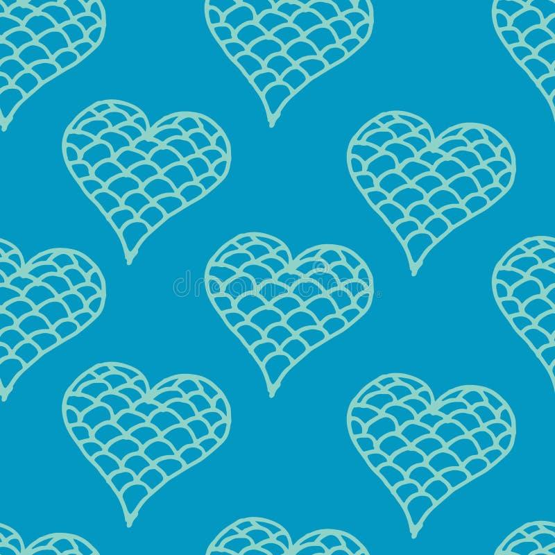 Modèle sans couture de griffonnages de coeurs de jour de valentines Collection romantique d'autocollants Vecteur tiré par la main illustration de vecteur