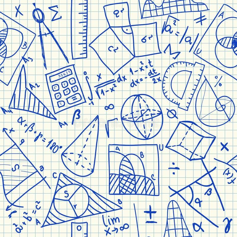 Modèle sans couture de griffonnages mathématiques illustration de vecteur
