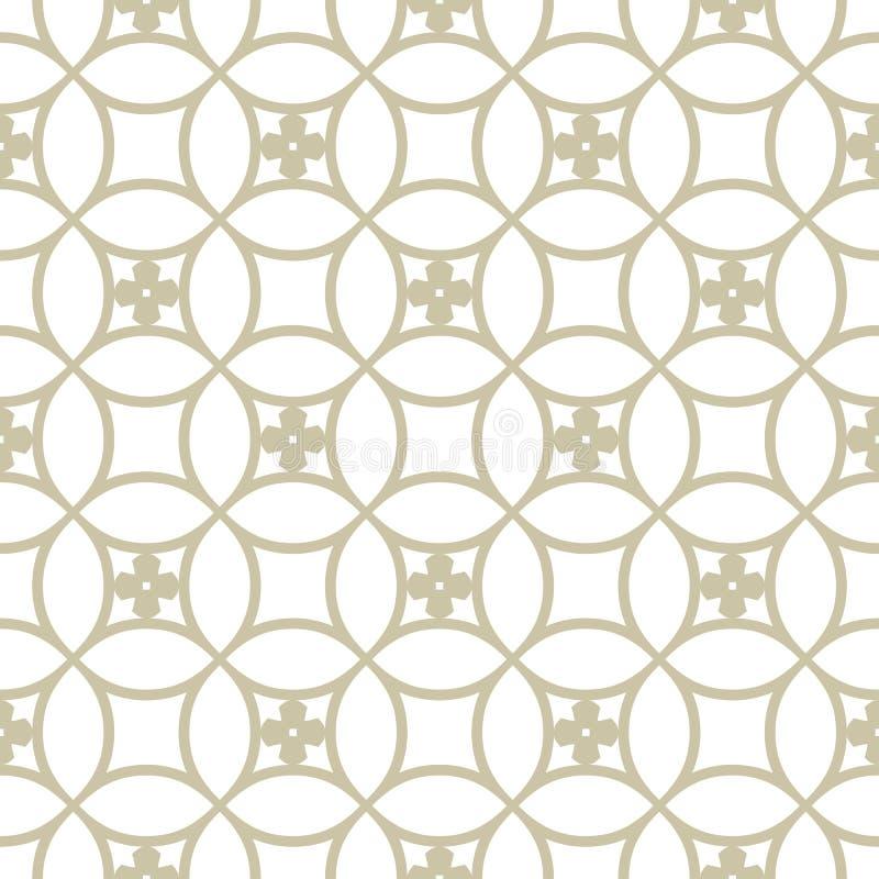 Modèle sans couture de grille d'or de vecteur Les tuiles florales ornementent, maille arrondie, filet illustration libre de droits