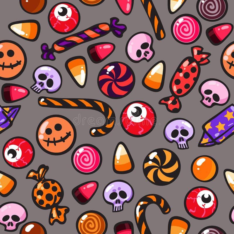 Modèle sans couture de Halloween avec des sucreries de bande dessinée sur le fond argenté Vecteur illustration de vecteur