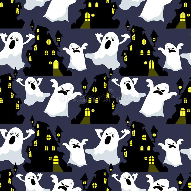 Modèle sans couture de Halloween avec la Chambre hantée et le fantôme illustration de vecteur