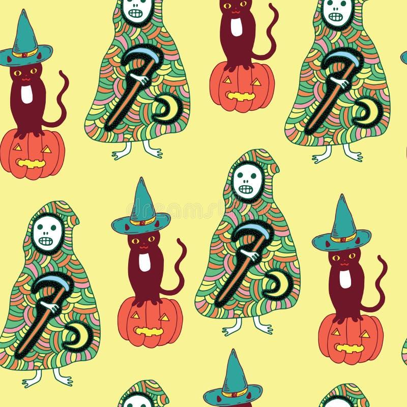 Modèle sans couture de Halloween avec le chat, potiron, la mort, moissonneuse illustration de vecteur