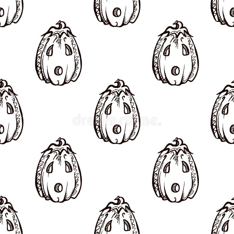 Modèle sans couture de Halloween avec les cric-o-lanternes tirées par la main illustration stock