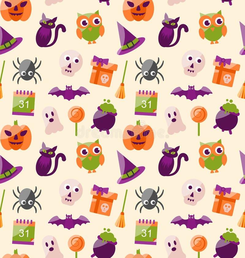Modèle sans couture de Halloween avec les icônes plates colorées illustration libre de droits