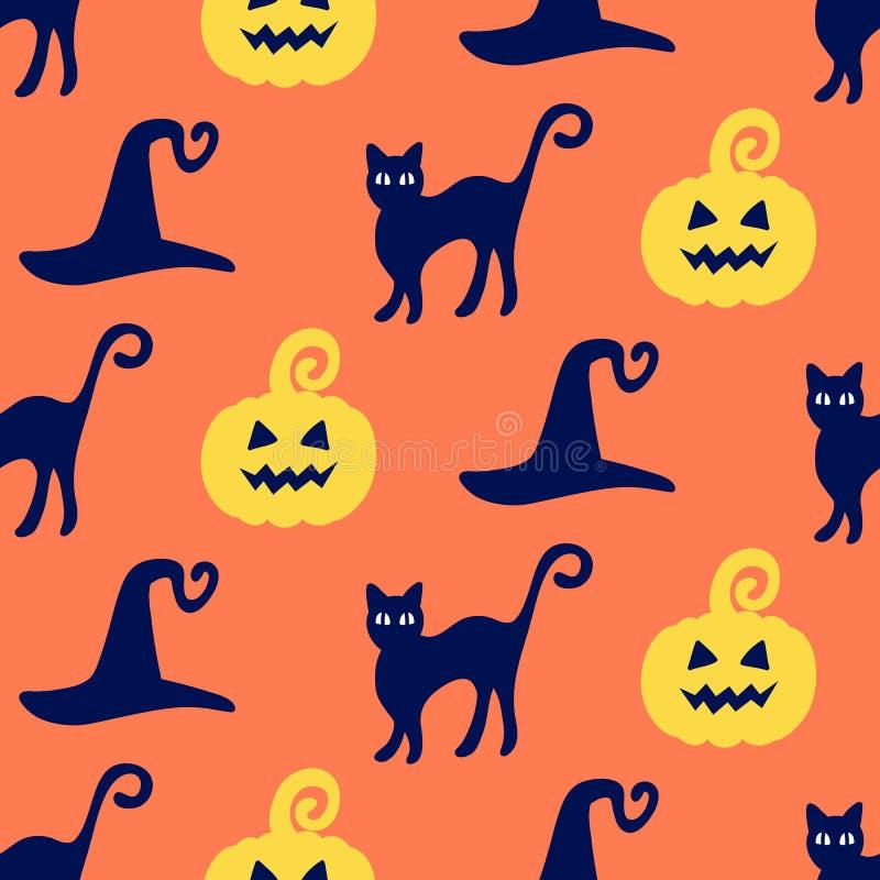 Modèle sans couture de Halloween avec les potirons, les chapeaux de sorcière et les griffonnages tirés par la main de chats illustration de vecteur