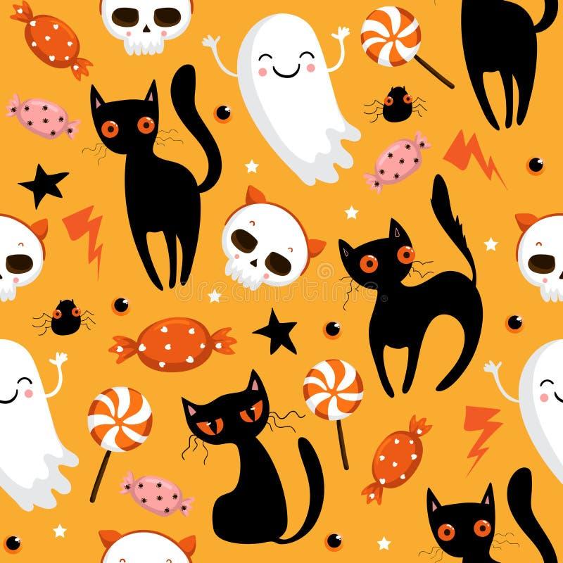 Modèle sans couture de Halloween avec les potirons mignons, le chat noir et d'autres éléments de Halloween Fond de vecteur de Hal illustration de vecteur