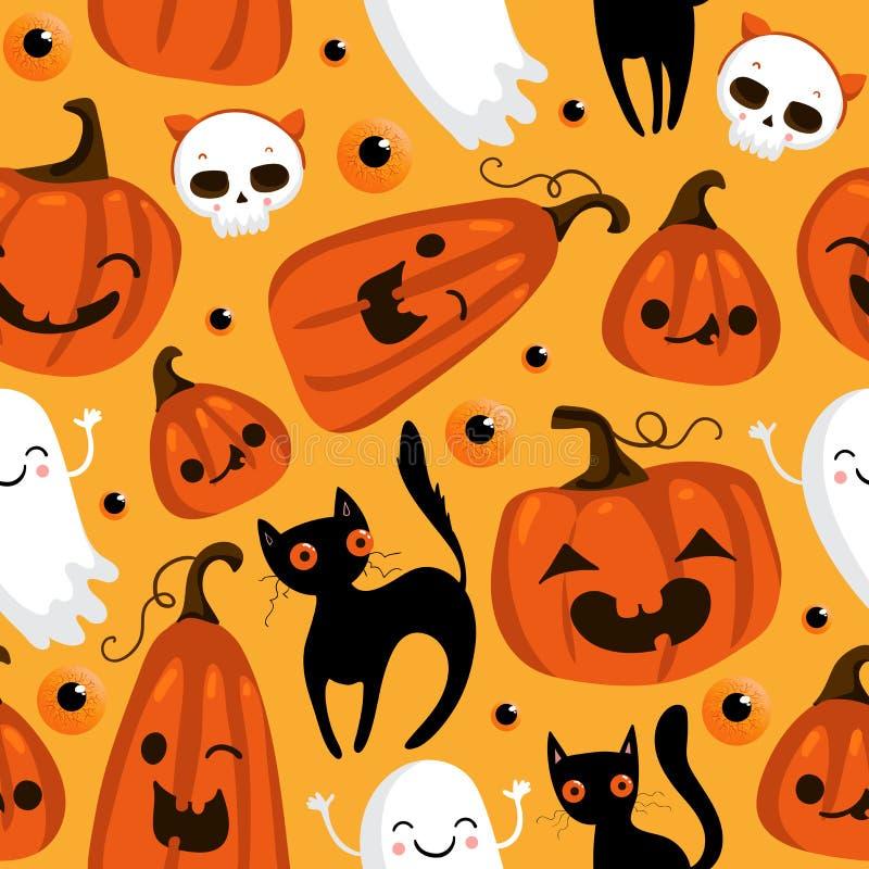 Modèle sans couture de Halloween avec les potirons mignons, le chat noir et d'autres éléments de Halloween Fond de vecteur de Hal illustration stock