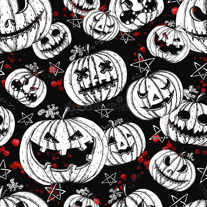 Modèle sans couture de Halloween avec les têtes mauvaises de potiron et les baisses ensanglantées illustration de vecteur