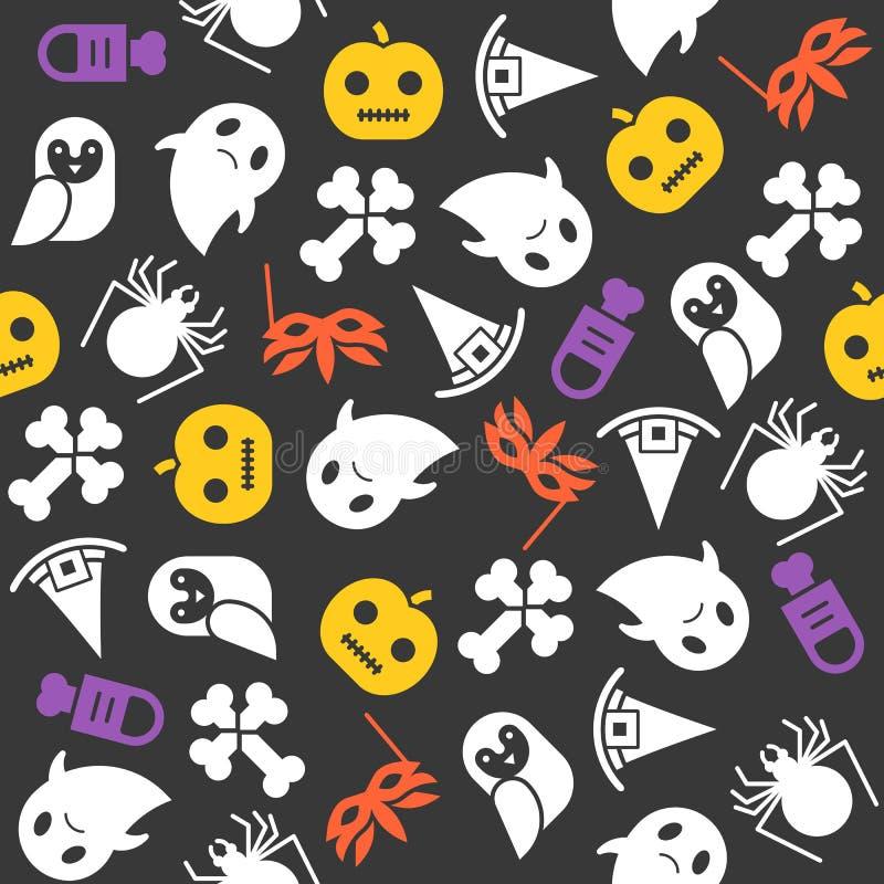 Modèle sans couture de Halloween, conception plate avec le masque de coupure illustration stock