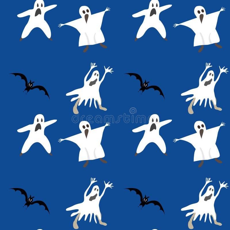Modèle sans couture de Halloween Couleur bleue de fond de vecteur de fantôme de silhouette de batte illustration stock