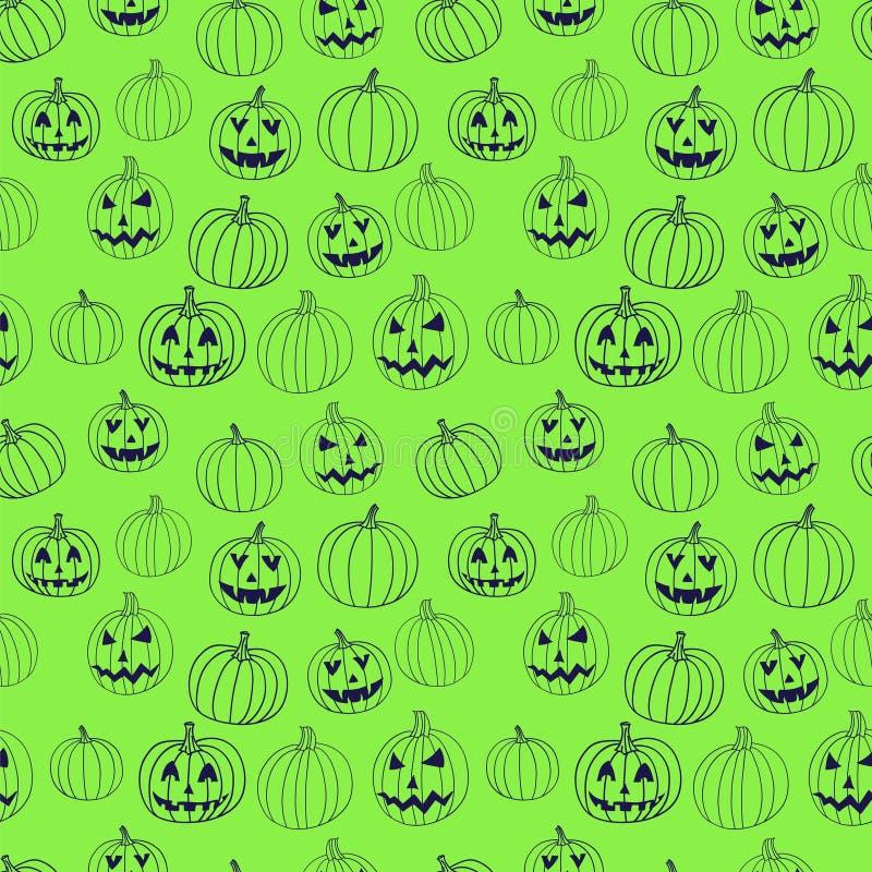 Modèle sans couture de Halloween d'impression vert de vecteur avec le potiron de cric-o-lanterne illustration libre de droits