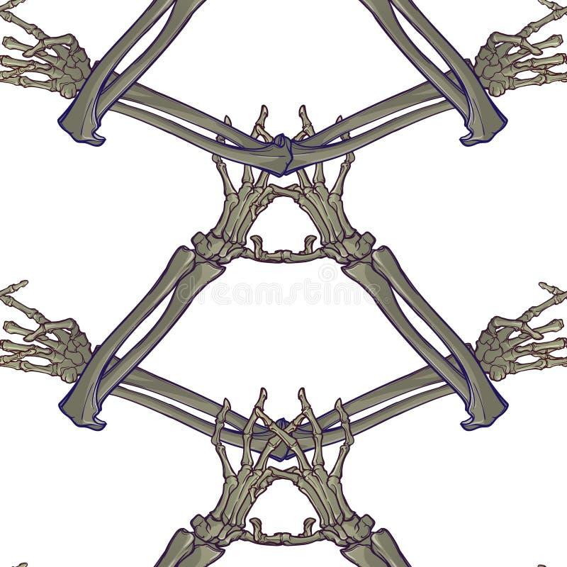 Modèle sans couture de Halloween Os de main humains dans divers gestes Rythme vertical régulier illustration de vecteur