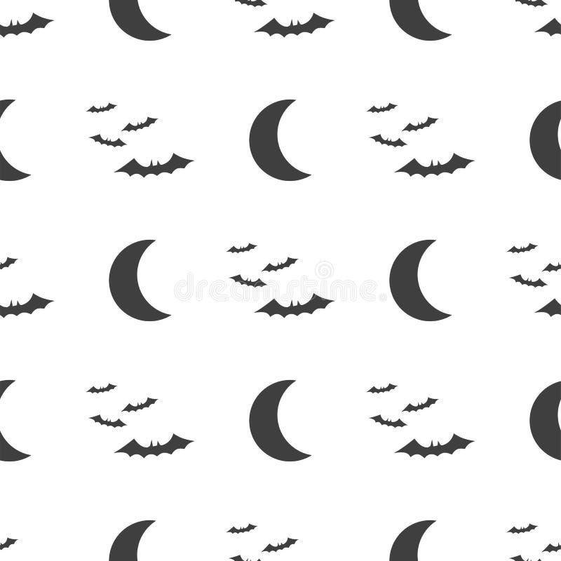 Modèle sans couture de Halloween de vecteur Symboles de lune et de batte Objets sur un fond blanc illustration de vecteur